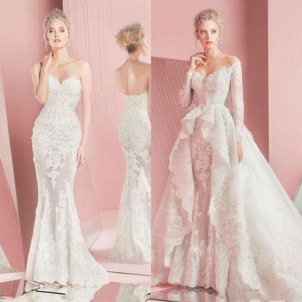 Zuhair Murad Mermaid Lace Wedding Dresses With Detachable Train Long Sleeves Sweetheart Neckline Applique Bridal Gowns 2018 Custom Made