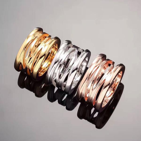 Nova versão de aço de titânio oco primavera Anéis para As Mulheres homens bulgária anel de Noivado de casamento Jóias finas S18101608