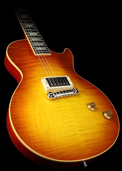 Geschäft begrenzten Run 58 Reissue Einzel Pickup Sonnenaufgang Teaburst E-Gitarre Tuilp Tuners Gold-Hardware-Block aus weißen Perlmutt Inlay