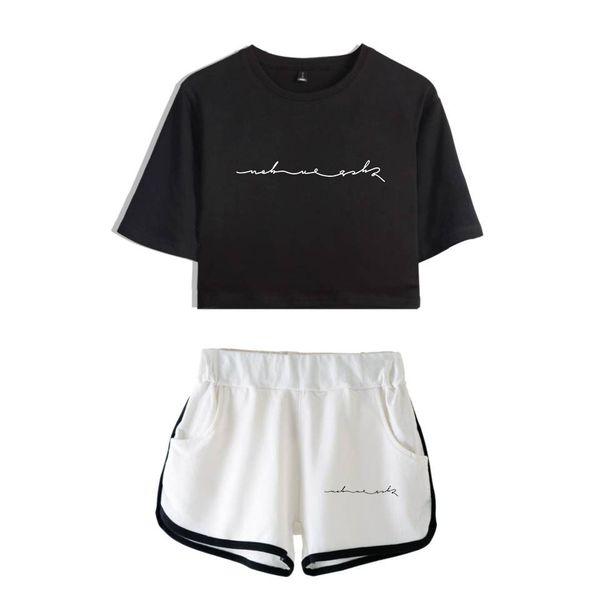 GOT 7 100% Cotton Sets Woman short sleeve Girls Streetwear Crop Top Women Popular Preppy style sets sexy Dew kawaii cloth
