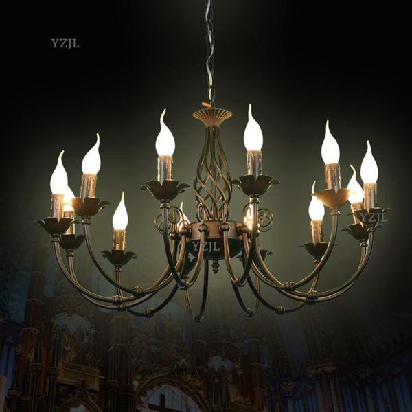 Европейский железная люстра LED американский ретро минималистский творческий люстра лампа гостиная спальня ресторан огни люстра