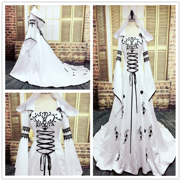 2018 Gothic Wedding Dress Black and White Muslim Dresses with Hat Exquisite Embroidery Lace Appliques Bridal Gowns custom made Bell Sleeves