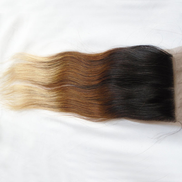 3 Tone Ombre Brazilian Human Hair Silk Base Closure Free Middle 3 Way Part T1b 4 27 Straight Virgin Remy Hair 8-20 inch