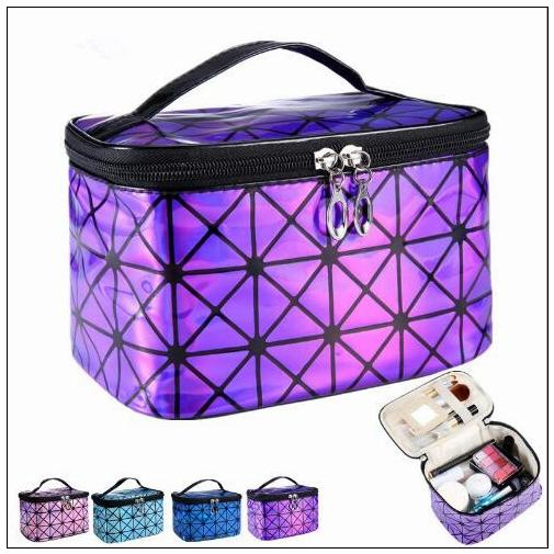 7 Colors Women Multi-function Travel Laser Flash Diamond Cosmetic Bag Makeup Case Pouch Toiletry Organizer Bags Cosmetic Box CCA8711 50pcs