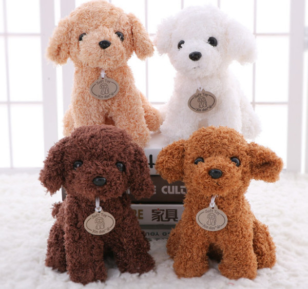 best selling 20CM Small Puppy Stuffed Plush Dogs Toy White Orange Brown Light brown Soft Dolls Baby Kids Toys for Children Birthday Party Gifts