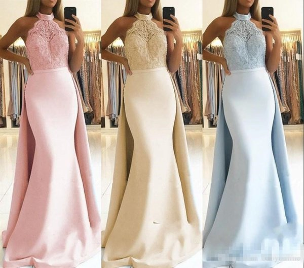 Gorgeous Mermaid Prom Evening Dresses with Detachable Skirt 2019 Halter Neck Appliques Top Satin Long Party Pageant Gowns