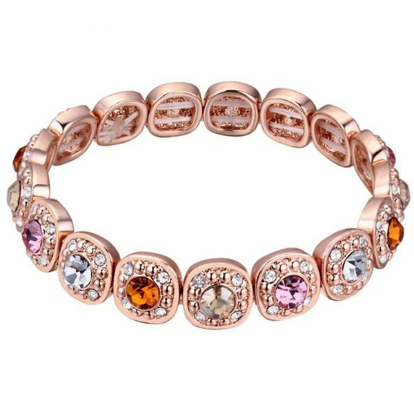 Elastic Charm Bracelets For Women Jewelry Crystal from Swarovski Elements Colorful Female Mother Gifts Rose Gold Plated 18500