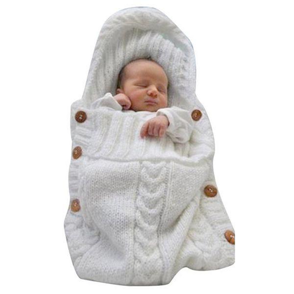 Sacos de Dormir recém-nascido bebê Swaddle Crochet Envolvimento envelope infantil 52x42 cm Carrinho de Bebê Acessórios de malha saco de dormir Nursery Bedding