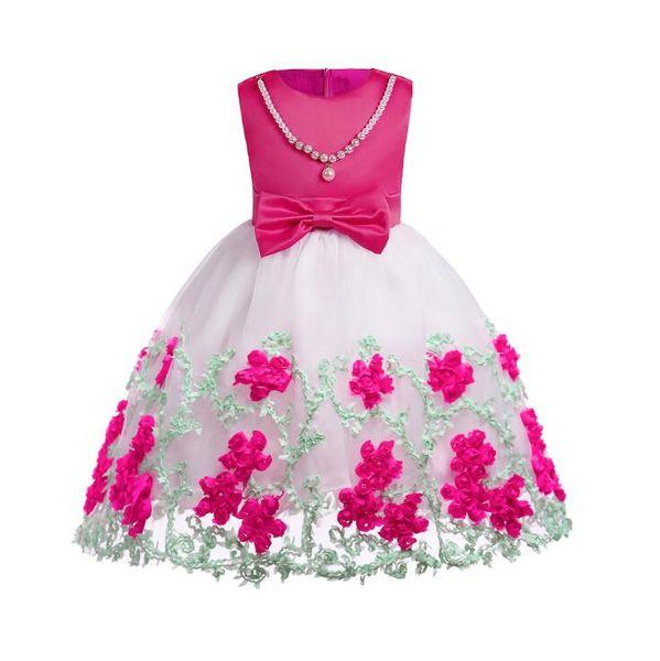 Vestido da menina de flor Do Bebê Meninas Pérolas Festa de Casamento de Aniversário Vestidos de Princesa Crianças Tutu Branco Malha Traje Crianças Roupas
