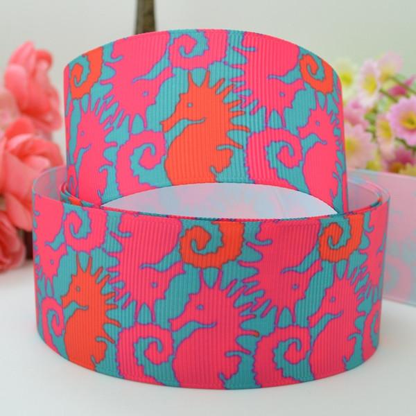 "Lilly Ribbons 1.5"" 38mm Sea Horse Printed Grosgrain Ribbon DIY Baby Hairband Bow Ribbon Hair Accessories Decorating Garment & Hat 50Yards"