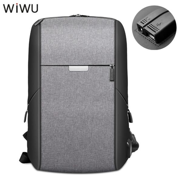 WIWU 2018 New 15.6' Laptop Backpack USB Charging Port/ 3.5 Audio Jack Port Waterproof Shockproof Leisure Bags For Men Women Gray