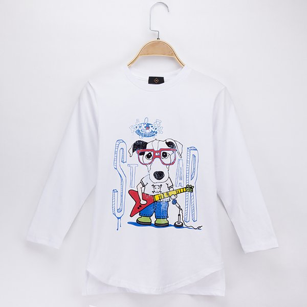 2018 New Casual Kids Clothes Children T-shirts Rock Star Dog 100% Cotton Full Child Boy Long Sleeve T Shirt Baby Clothing Girl Tops Teen Tee