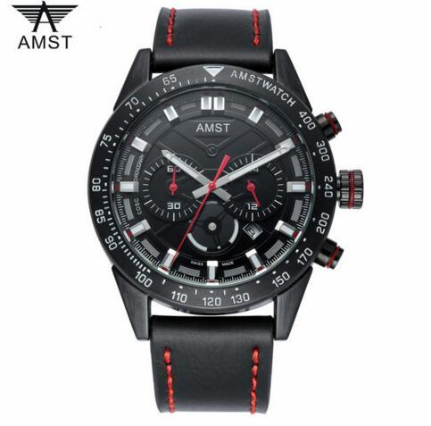 2018 AMST Brand Quartz Watch for men casual stainless steel black leather watches top luxury chronograph waterproof clock 3021