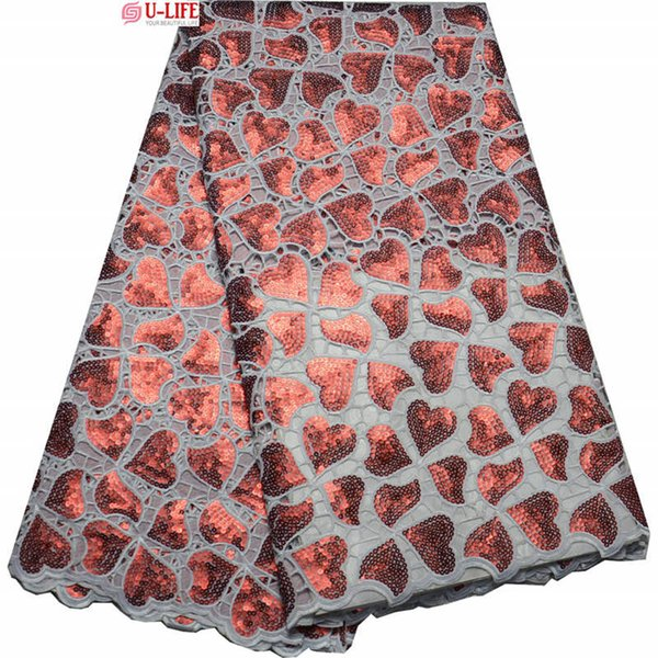 Advanced White Red Handcut organza lace African sewing fabric with allover sequins shine and high quality 5 yards/lot F4-285