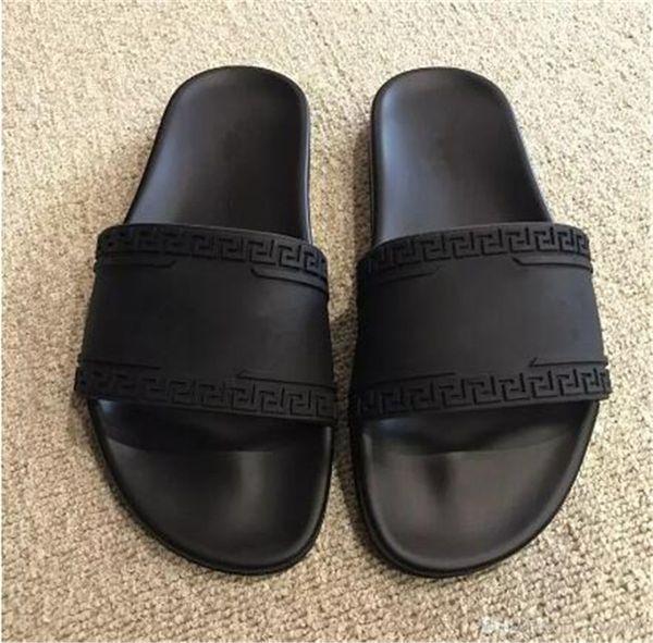 V039versace Brand New Fashion Comfortable Medusa Mens Flat Slide Sandals Scuffs For Women Slippers Men Shoes Black White Slipper With Box