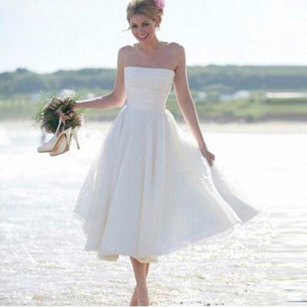 Vintage Tea Length Wedding Dress Strapless Tulle Beach 2018 Wedding Dresses from China Cheap A Line vestidos de noiva