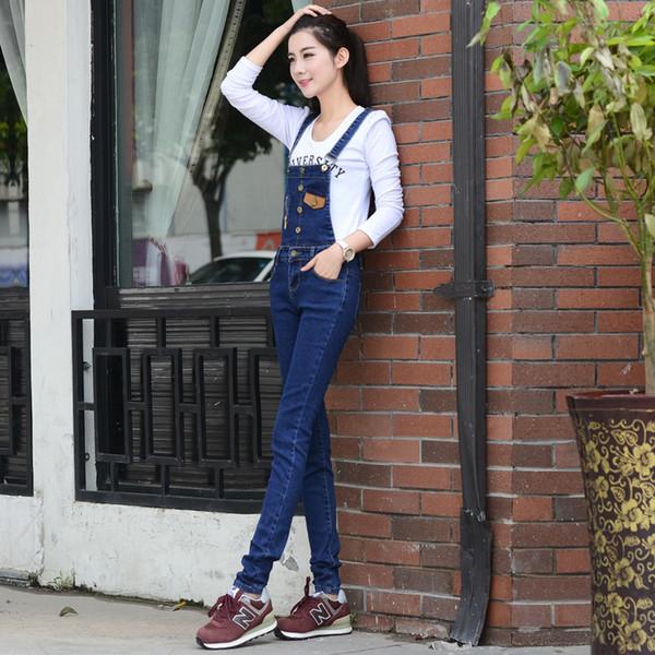 New Fashion Cute Bib Female Autumn Student Jeans Feet Pants Female Slim Detachable Large Size Strap Trousers Jumpsuit Specials Wholesale 26