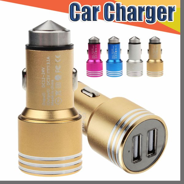 Dual USB Ports 2A Car Charger Aluminum Alloy material real Safety Hammer metal design for iPhone 7 Samsung S7 S8 Plus