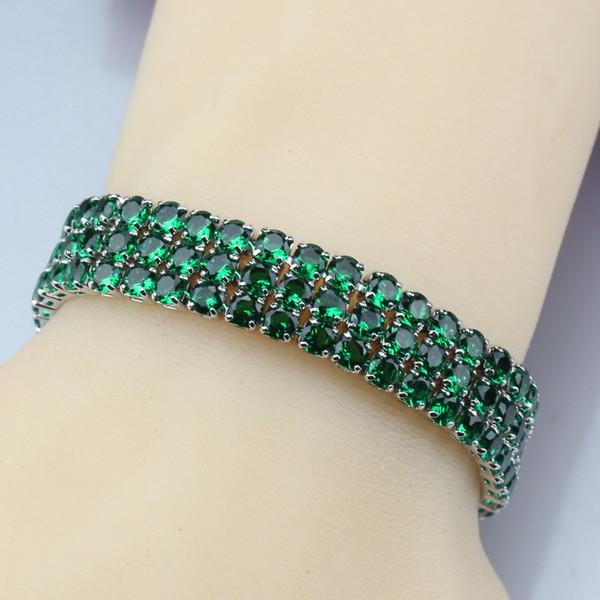 Green Zircon Adjustable Link Chain Bracelet Length 19.5CM 925 Sterling Silver Jewelry For Women/Girl Gift Box