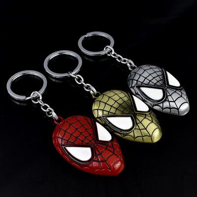 Marvel Movie Peripheral Avengers Spider-man Mask Metal Keychain Car Advertising Key Ring Chain Ring Pendant Doll