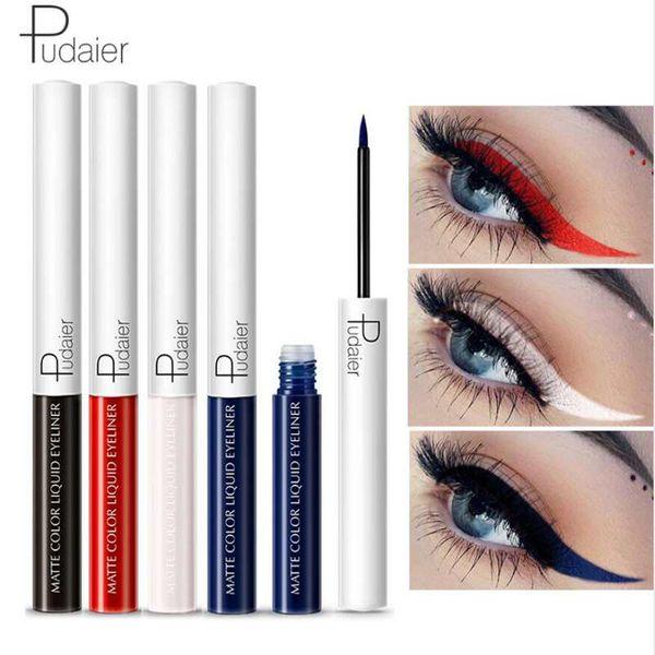 Pudaier Mate Liquid Eyeliner Impermeable Duradero Pigmento Verde Púrpura Rojo Naranja Color Sexy Eye Liner Party Beauty Cosmetic