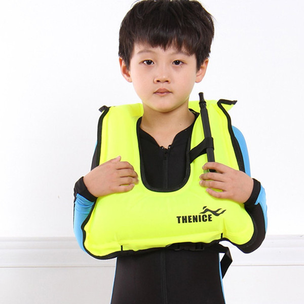 Children Kids Life Jacket Snorkeling Gear Swimwear Oral Inflation Inflatable Vest Water Sports Life Saving For Boating Surfing