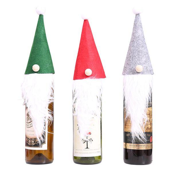 Decoração de natal Rudolph Chapéus De Feltro Tampa De Garrafa De Vinho Papai Noel Barba Boneca Envoltório De Presente Forma Xmas Decoração De Mesa 3 Cores DHL HH7-1841