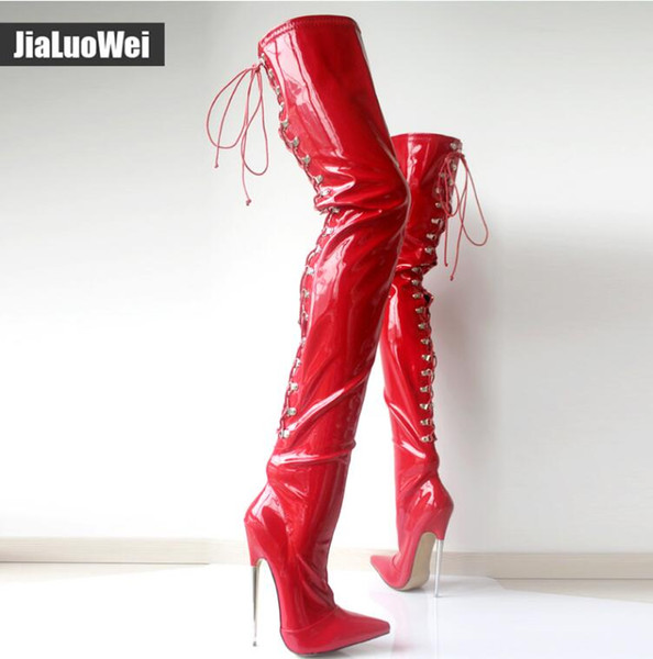 Women Thigh High Boots Sexy 18cm High Heeled Metal Thin Heel Woman Pointed toe Cross tied Over The Knee High Cosplay Dancing Shoes