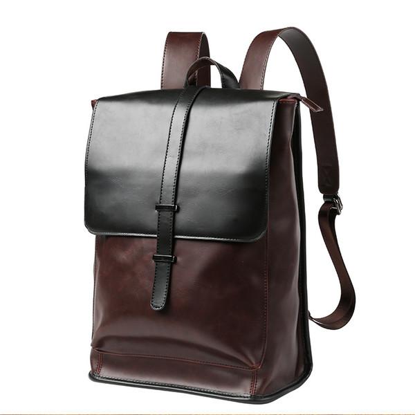 Vintage Pu Leather Men Backpacks Male School Bag Black Backpack For Teenage Boys Schoolbag Travel Bag Sac A Dos Homme 2018 New Justice Backpacks