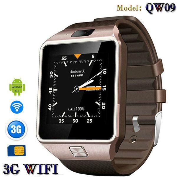 2018 3G WIFI QW09 Android Smart Uhr 500 Watt pixel 512 MB / 4 GB Bluetooth 4,0 Real-Schrittzähler SIM Karte Anruf Anti-verloren Smartwatch PK DZ09 GT08