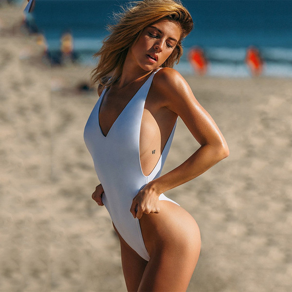 top popular 2018 New Sexy Women Swimsuit Lady Sexy V-Neck One Peice Swimsuit Purity Monokini Bikini Swimwear Beach Hot Sell Navy Suit 2020