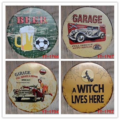 Hot 50pcs BBQ ZONE Round Painting Retro Gift Metal Sign Plaque Wall decor