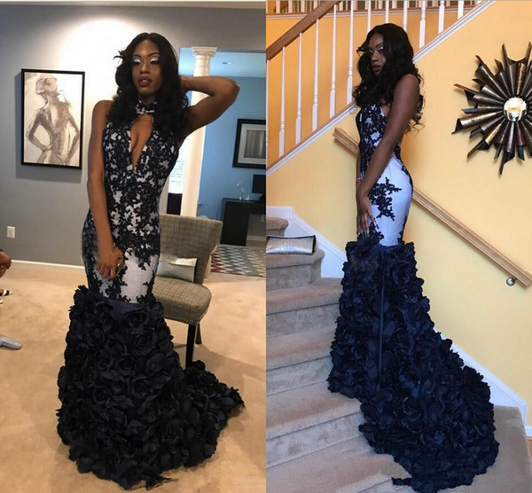 Backless Mermaid Black Party prom Formal Dresses for Womens African Lace 3D floral train fishtail Evening Gown Homecoming graduation Dresses