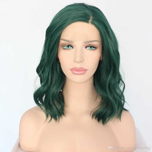 Free Shipping 150% Density Hand Tied High Green Color Short Bob Wavy Type Temperature Fiber Heat Resistant Synthetic Lace Front Women Wigs