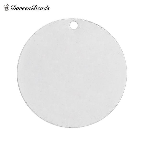 DoreenBeads Cobre Em Branco Estampagem Tags Pingentes Redondos para Colares Brincos Pulseiras cor prata 25mm (1