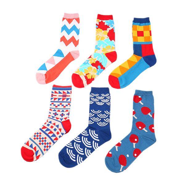 60 PARES / LOTE Calcetines de Las Mujeres Calcetines de Harajuku de Moda Calcetín de Color Geométrico Viento Británico Calcetín Corto Mujeres de Los Hombres Calcetines de Algodón de la Pareja de la Personalidad