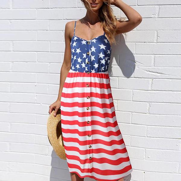 07cba5949f Designer Dress Women Sundress Clothing American Flag Loose 4th Of July  Sleeveless Tops Fashion Female Mini