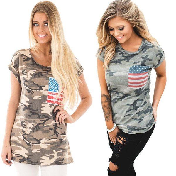 New Women Casual T-shirt Camouflage Printed American Flag Independence Day Tee tShirts Summer Ladies Short Sleeve O Neck Tops