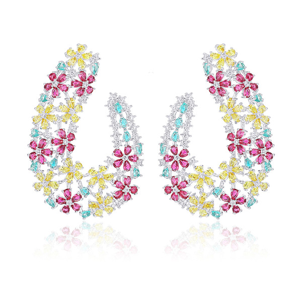wholesale Luxury Wedding Party Large Size Stud Earring Shining Colorful Cubic Zirconia Bloom Flower Earrings