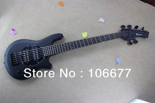 Free Shipping Hot Sale Top Qulity Music Man Bongo Metal Blue 6 String Active PickupsMatte Black Bass Electric Guitar