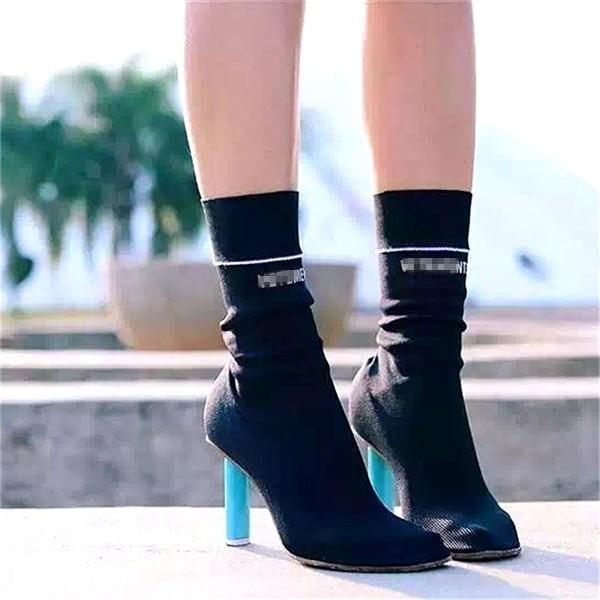 Fashion Runway Stretch Fabric Black White Red Shoes Ankle Boots Women Slip On Knitted Botas Mujer Cigarette Lighter High Heel Sock Boots