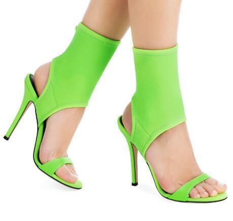 Summer Fluorescent Green High Heels Sandals Rome Style Stretch Fabric Women Pumps Slingback Stiletto Heels Women Shoes
