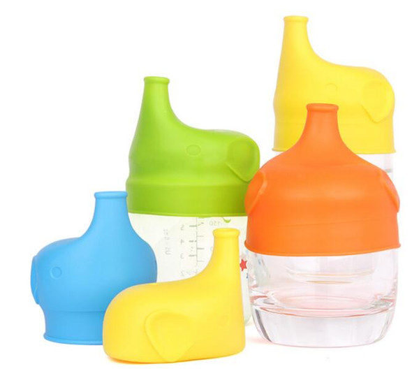 top popular Silicone Baby Cup Cover Sippy Lids Leakproof Baby Training Drinking Glass Cup Elephant Design Anti-overflow Cup Lid 2019