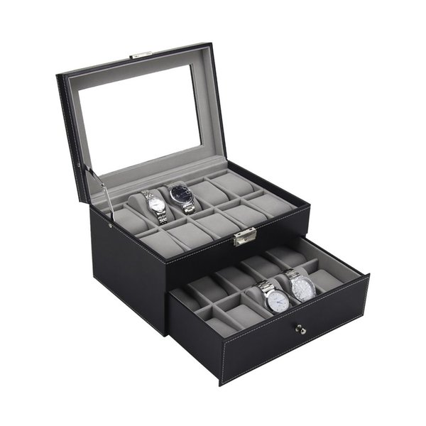 PU Leather Double Layers 20 Slots Watch Box Storage Case Watches Container Earring Bracelet Jewelry Organizer Box