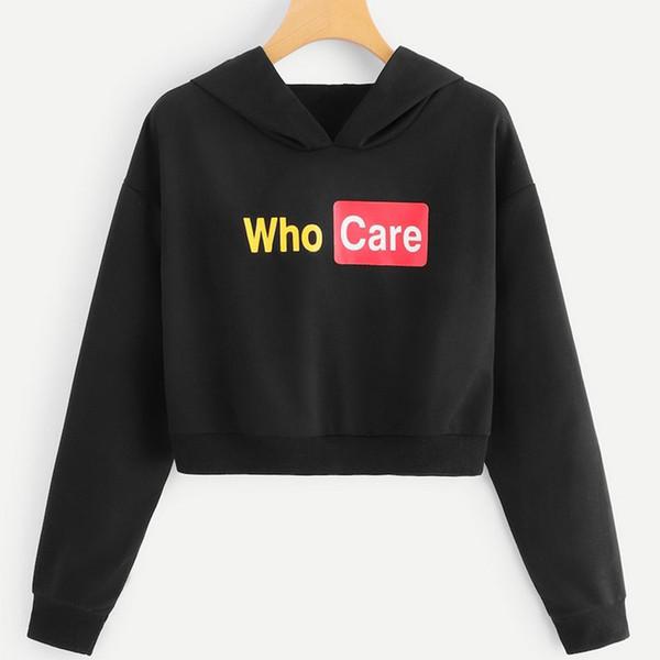 Sudadera con capucha y estampado de letras de moda para mujer Sudadera corta Tops Sudadera Mujer Moletom Feminino Sudaderas con capucha Mujeres Kawaii 5