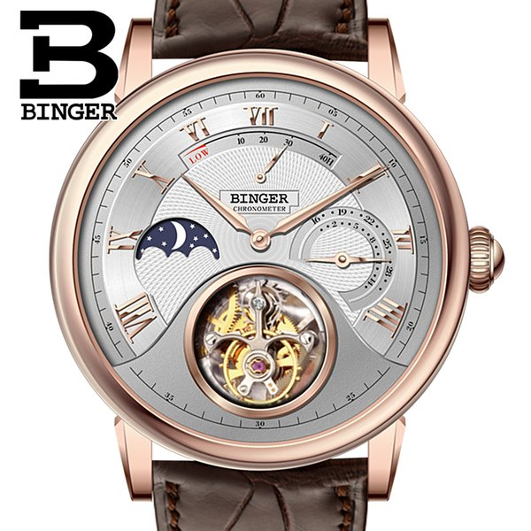 Genuine Luxury BINGER Brand Crocodile leather strap Men Chronogra Sapphire waterproof automatic mechanical watch