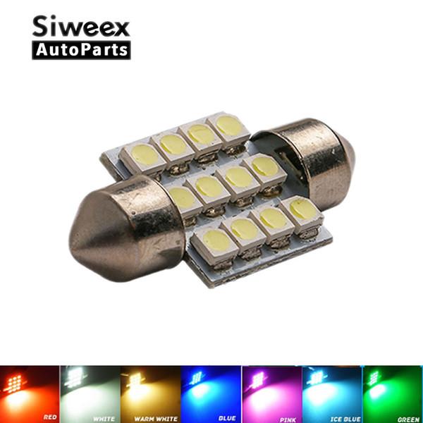 31mm 3528 1210 SMD 12 LED Araç Oto Festoon Kubbe İç Harita Işıklar Ampul Lamba DC için 12V Mavi / Yeşil / Sarı / Kırmızı