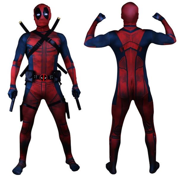 Transporte da gota Universo Clássico Peito Muscular Deadpool Traje Completo Bodysuit Zentai Ternos Crianças 3D Estilo Cosplay Capuz Separado