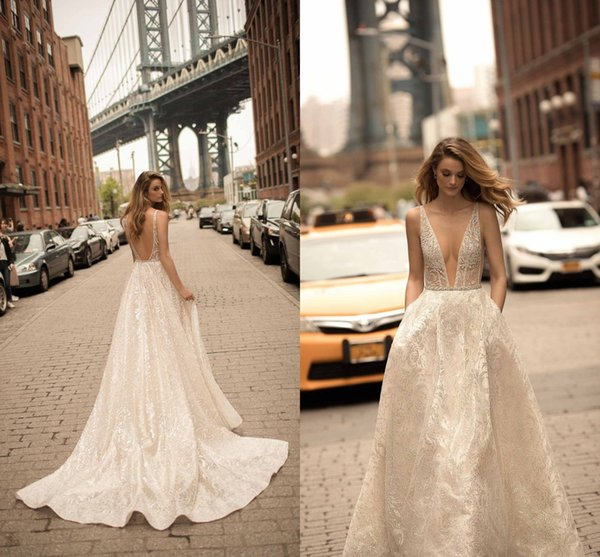 Charming Ivory Sexy Plunging V Neck Backless A Line Wedding Dresses 2019 Berta Long Sweep Train Lace Sequined Appliques Wedding Bridal Gown