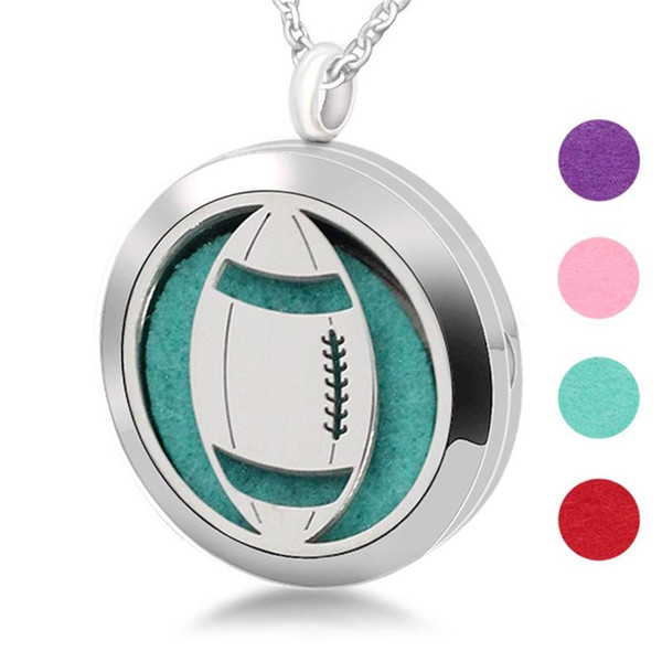 Circular Pendant Charm Rugby Football Pendants Stainless Steel Hollow Out Spread Essential Oil Box Diffuser Hot Sale 13yb hh
